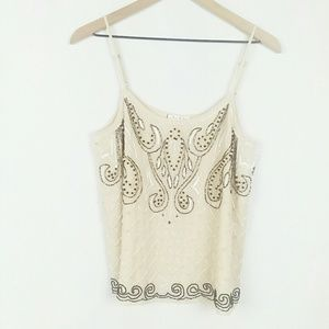 Willow &clay beaded & sequenced design lined tank